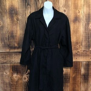 London Fog - Black Tie Waist Trench Coat - 4P